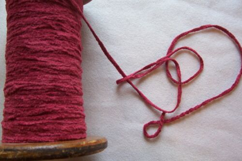 Victorian Cotton Chenille Trim  for Antique Dolls dress/cape red - maroon 1.5 YD