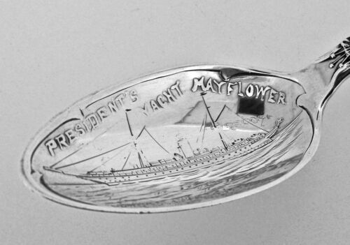 President's Yacht USS Mayflower Sterling Silver Souvenir Spoon Military Navy SL