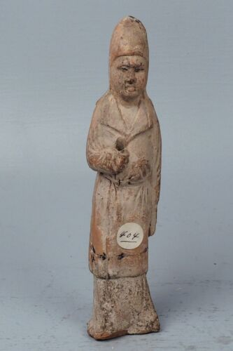 Old or Antique Chinese Pottery Statue - Scholar Guardian Attendant - PT