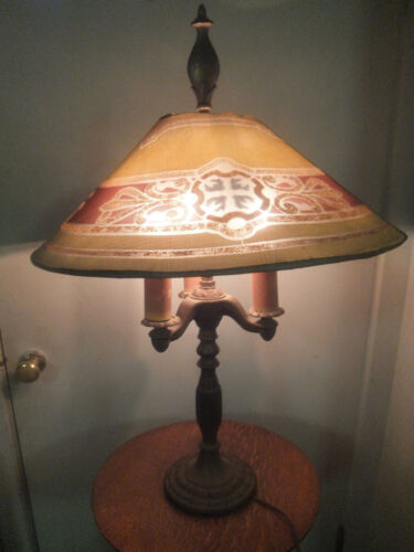 """Antique Signed Rembrandt Table Lamp Wire Mesh Shade 27"""" Tall 18"""" Diameter"""