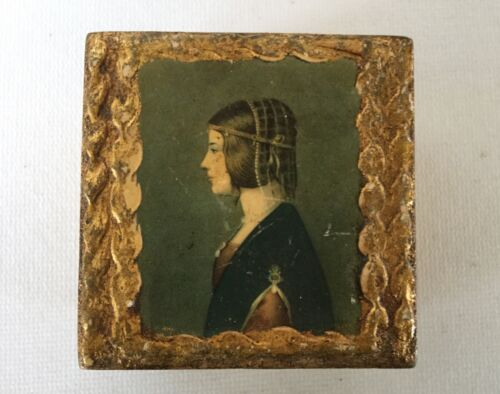 Vintage Toleware FLORENTINE Wood Gesso Small Rosary / Jewelry BOX Lady Italy