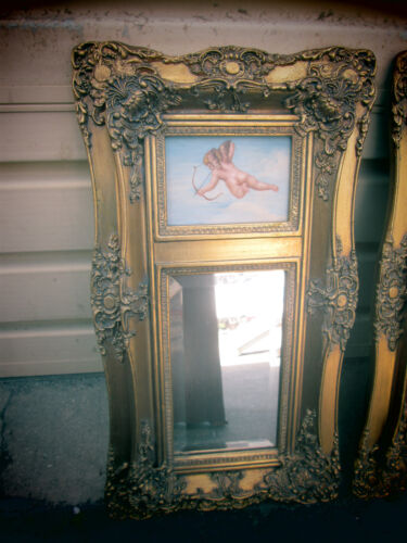 55467 Gold Decorator Beveled Mirror w/ Hand Painted Cherub Picture