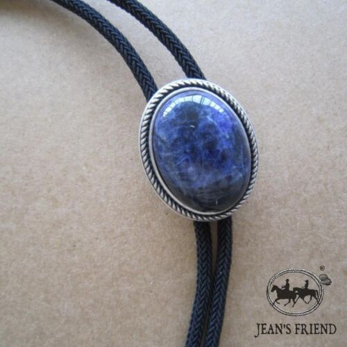 Silver Plated Nature Blue Sodalite Stone Western Cowboy Rodeo Bolo Tie