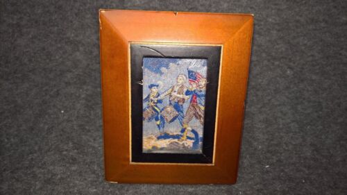 Wood Framed Tapestry Picture Vintage Spirit of 76 Very Nice Example