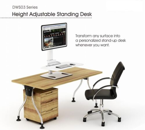 """DWS03-T01WH Display Adjustable Standing Desk-13''-32"""" LED/LCD Monitor Screens"""