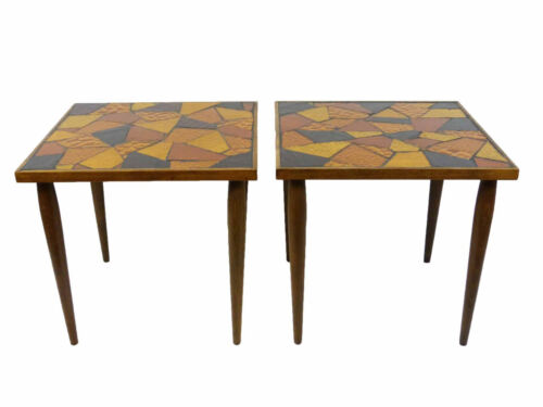 Mosaic Stained Glass Tile Mid Century Side Tables, Pair
