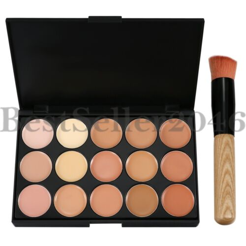 15 Colors  Professional Foundation Concealer Contour Palette Cosmetic w Brush