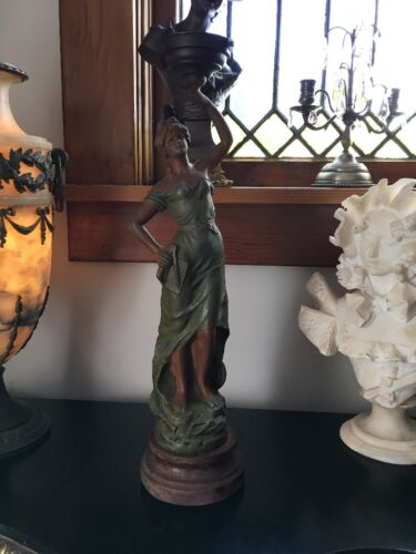 LOVELY FRENCH SPELTER LADY LAMP SIGNED WOODEN BASE