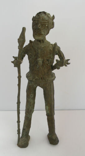 Old huge African Bronze metal sculpture, statue of warrior with spear, Africa