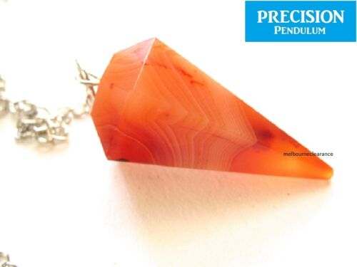 Solid Red Carnelian 12-Faceted Precision Pendulum with Chain Crystal Gemstone