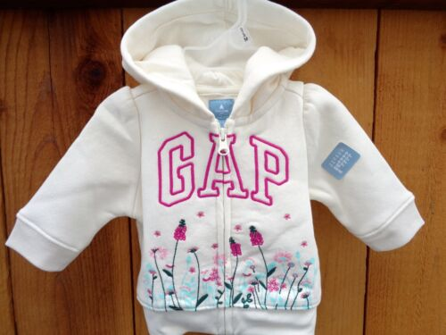 New Baby Gap Girls Floral Arch Logo Ivory Hoodie Sweatshirt SZ 0-3 M cozy Easter