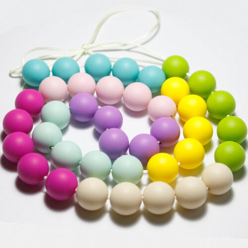 20 Pcs Round Baby Chew Jewelry Silicone BPA Free Beads Teethers DIY Necklace New