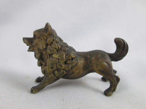 Antique Vienna Austrian Bronze Playful Dog Puppy Miniature Figurine
