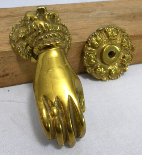 RARE Antique Solid Brass Victorian Female Hand Door Knocker HEAVY OLD Hardware!