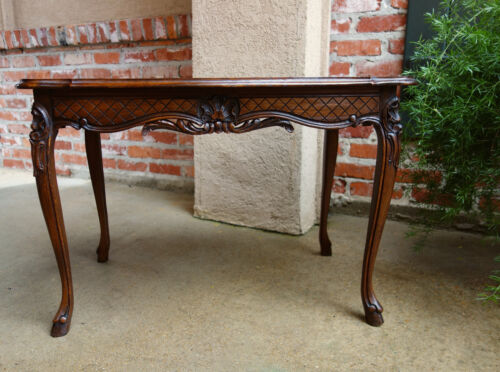 Antique French Carved Dark Oak Coffee Table Louis XV Sofa Table Serpentine