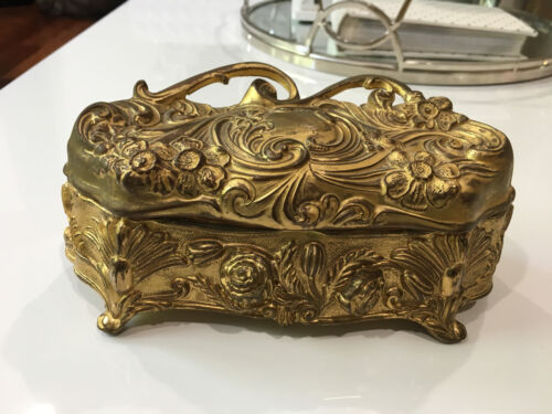 Vintage Antique Gilt Metal Art Nouveau Style Dresser / Jewelry Box w Floral Dec.