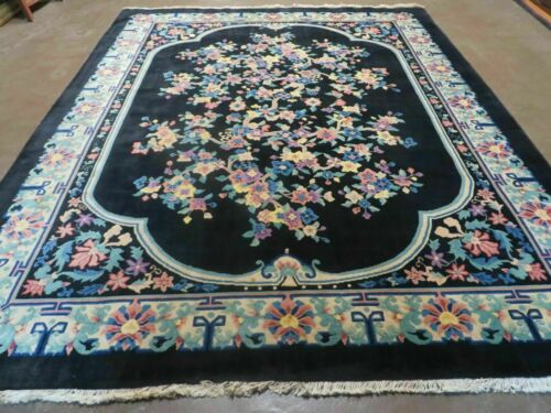 8' x 10' Vintage Hand Made Art Deco Plush Chinese Wool Rug center Flower Black