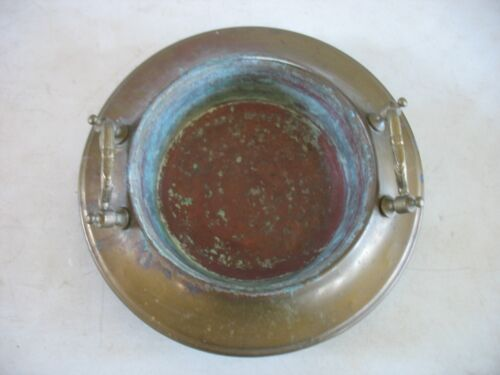 Vintage Handmade Brass & Copper Planter Pot or insert w handles old Patina