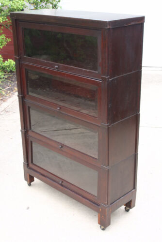 Barrister bookcase 4 stack - vintage antique cabinet with beveled glass doors