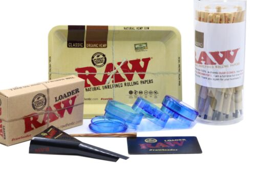 RAW Classic King Size Pre-Rolled Cones 50 Count Bundle +Tray +Loader+ Grinder