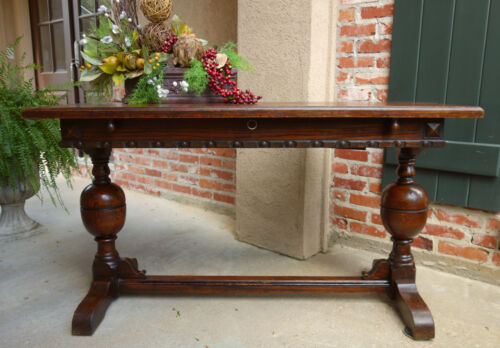 Antique English Oak DINING TABLE Sofa Table w Butterfly DRAW LEAF  Jacobean