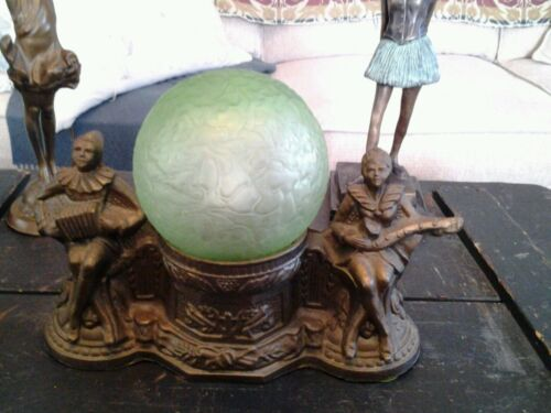 FABULOUS ANTIQUE ART DECO FRANKART STYLE TABLE DESK LAMP GREEN CRACKLE GLASS