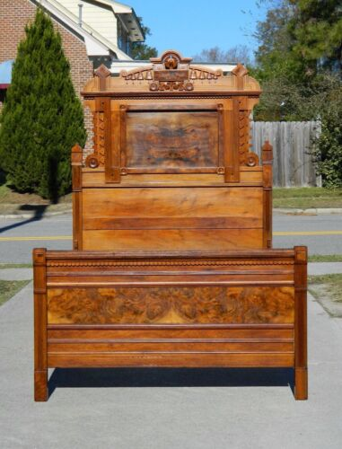High Back Walnut and Burl Victorian Bed circa 1875 ***Full Size***