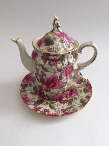 4-pc Victorian Trading Co Tea For One Victorian Garden Pink Flowers Tea Set