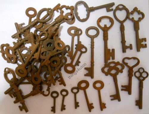 Rusty ornate Skeleton 1800's keys 100 pc lot steampunk #2207