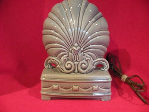 Vintage Art Deco Ceramic Gray Desk Fan Lamp