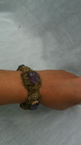 Beautiful antique Chinese  sterling silver gilt amethyst bracelet