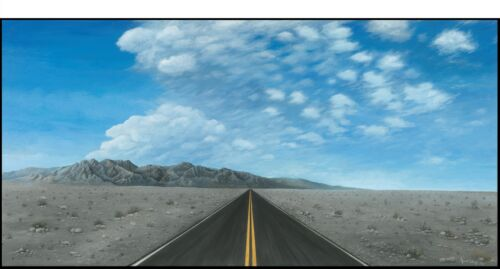 Acrylic Painting of Road to Nowhere Desert print giclee