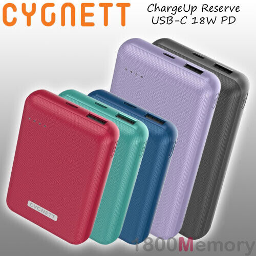 GENUINE Cygnett ChargeUp Reserve USB-C 18W PD USB A Power Bank Portable Battery