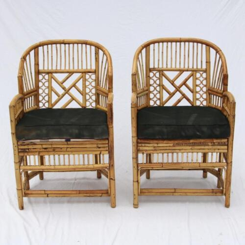 Pair VTG Rattan Brighton Chairs Bamboo Hollywood Regency Chinese Chippendale