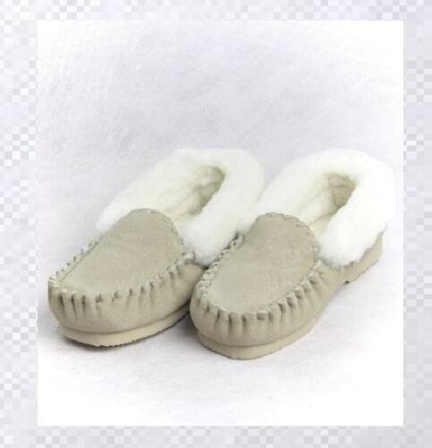 Australian Sheepskin Moccasin Lambskin Beige Slippers Boot Mens Womens Ladies