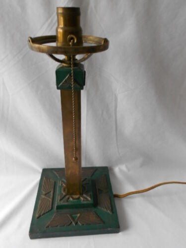 Vintage Arts and Crafts Mission Style Table Lamp Iron and Brass W/Benjamin Plug