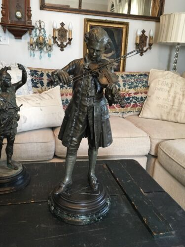 AMAZING ANTIQUE SPELTER MOZART STATUE SIGNED HALLMARKED PARIS FRANCE