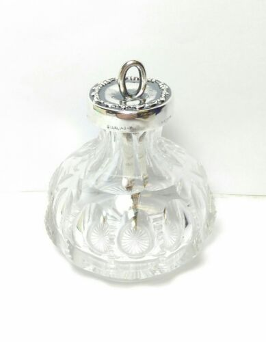 ANTIQUE VICTORIAN ABP CUT GLASS CRYSTAL & STERLING SILVER GLUE MUCILAGE BOTTLE