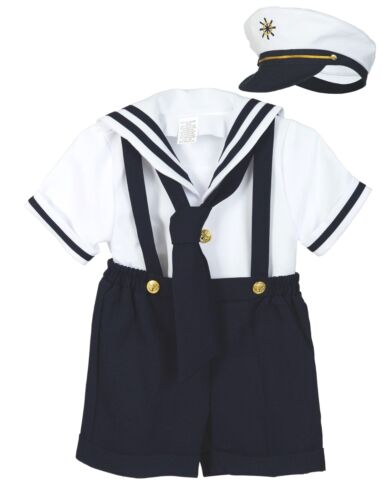 Baby Boy Toddler Formal Party Nautical Navy Sailor Suit Outfits SZ: S M L XL-4T