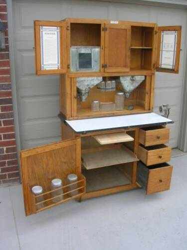 OAK HOOSIER Kitchen Cabinet w Flour & Sugar Bin,13pc Glassware Set, Meat Grinder