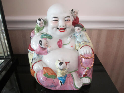 Large Vintage Chinese Porcelain Happy Laughing Buddha With Kids  Marked?