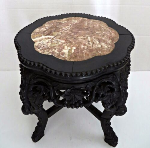 Antique 1870's Oriental Chinese Carved Wood Marble Top Side Table Plant Stand