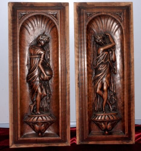 PAIR OF FRENCH ANTIQUE CARVED WOOD WALNUT PANELS FEMALE XIX c