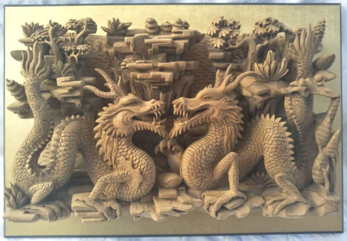 Incredible Antique Chinese Oriental Carved Wood Architectural Panel Lung Dragons