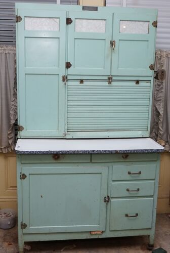 VINTAGE HOOSIER KITCHEN CABINET BY MCDOUGALL ORIGINAL PAINT BLUE GREEN AQUA
