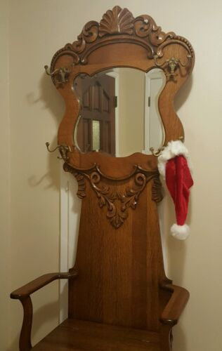 Ant. American Oak Hall Tree Beveled Mirror Storage seat wood craved brass hooks