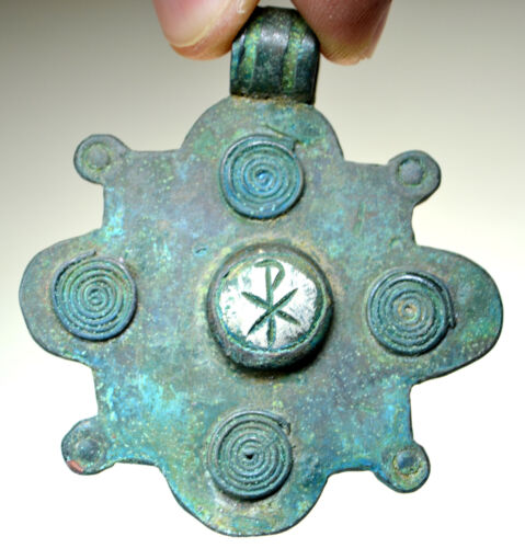 Byzantine Bronze Double Sided Christian Pendant (Pure Silver Element Cross)