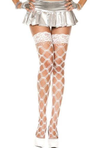 Fishnet Hold Ups Stockings Floral Lace Top Silicone Band  Holdups Medium-SL