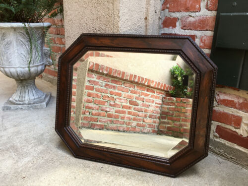 Antique English Carved Oak Beveled WALL MIRROR Arts & Crafts Jacobean Octagon