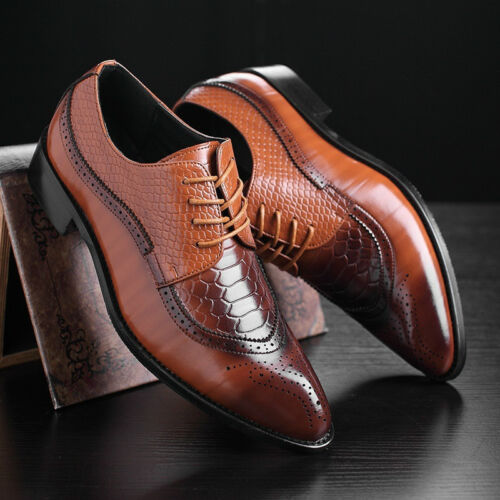 Men's Dress Formal Oxfords Leather shoes Business Casual Classic Bullock Shoes